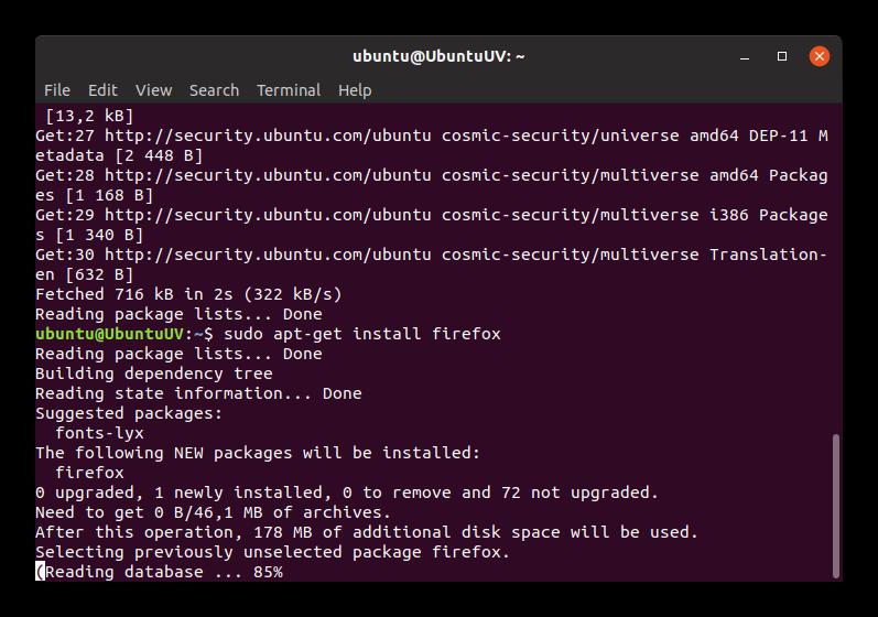 Установка Firefox через терминал в Ubuntu