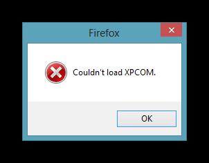 Вид ошибки XPCOM в Firefox