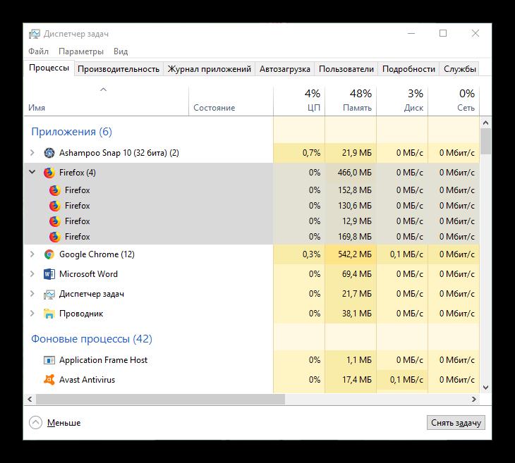 Вид Диспетчера задач с процессами Firefox