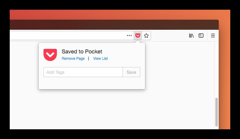 Картинка Сервис Pocket в Firefox