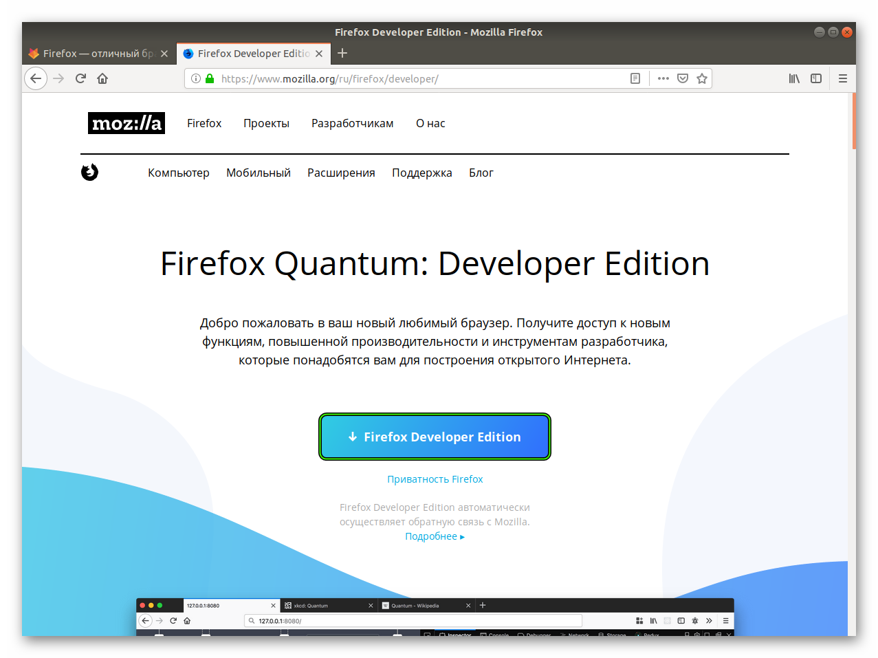 Скачать Firefox Developer Edition для Linux
