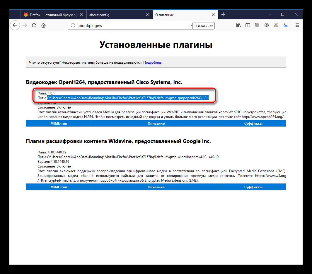 Информация о плагинах в Firefox