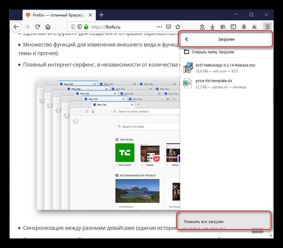 Показать все загрузки в Firefox