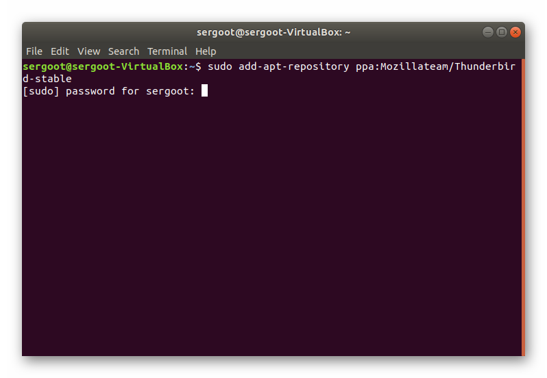 Начало установки Thunderbird в Linux через Терминал