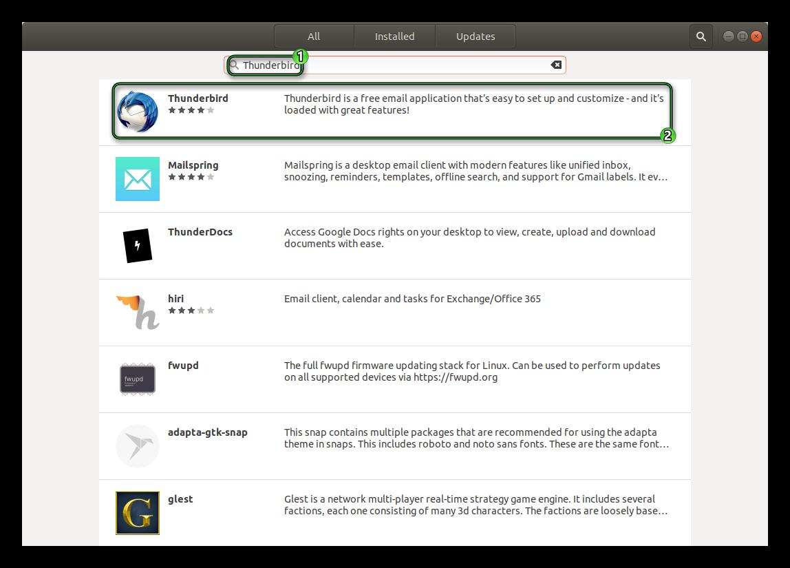 Поиск Thunderbird в магазине приложений Ubuntu
