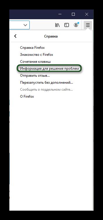 Пункт Информация для решения проблем в основном меню браузера