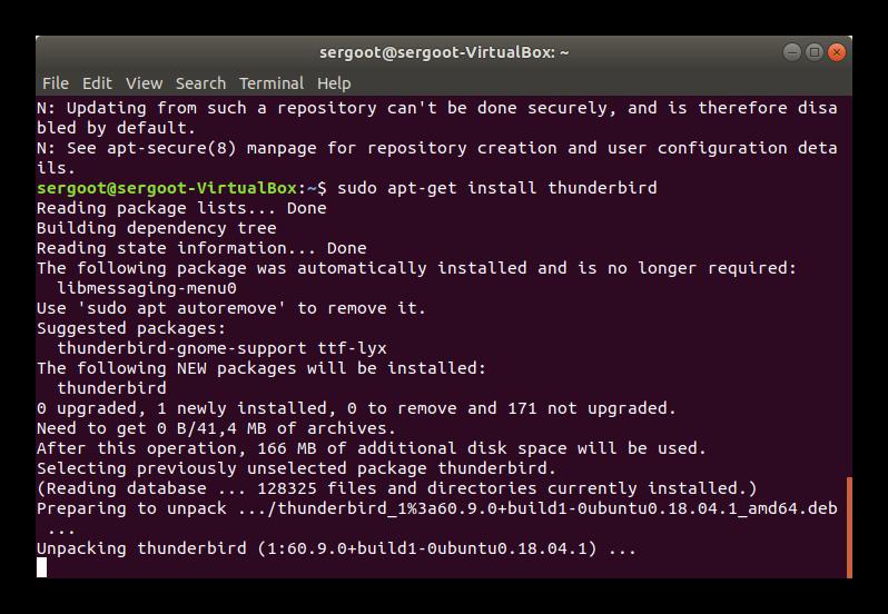 Завершение установки Thunderbird в Linux через Терминал