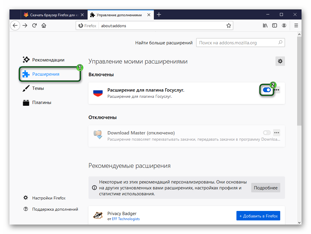 Отключение плагина Госуслуги для Firefox