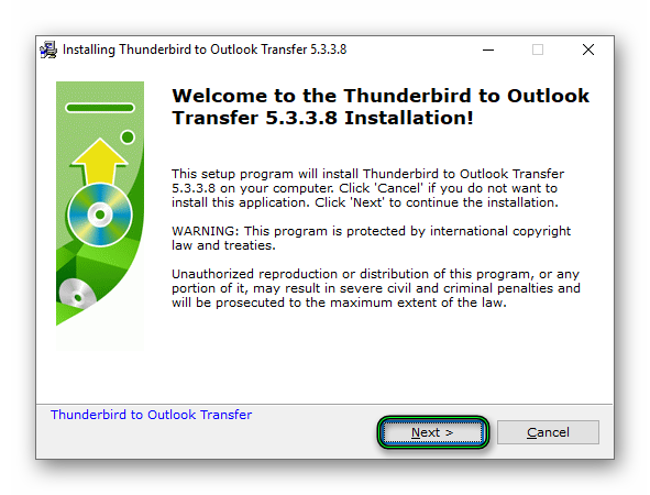 Первый запуск Thunderbird to Outlook Transfer