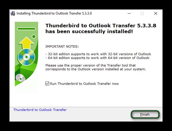 Завершение установки Thunderbird to Outlook Transfer